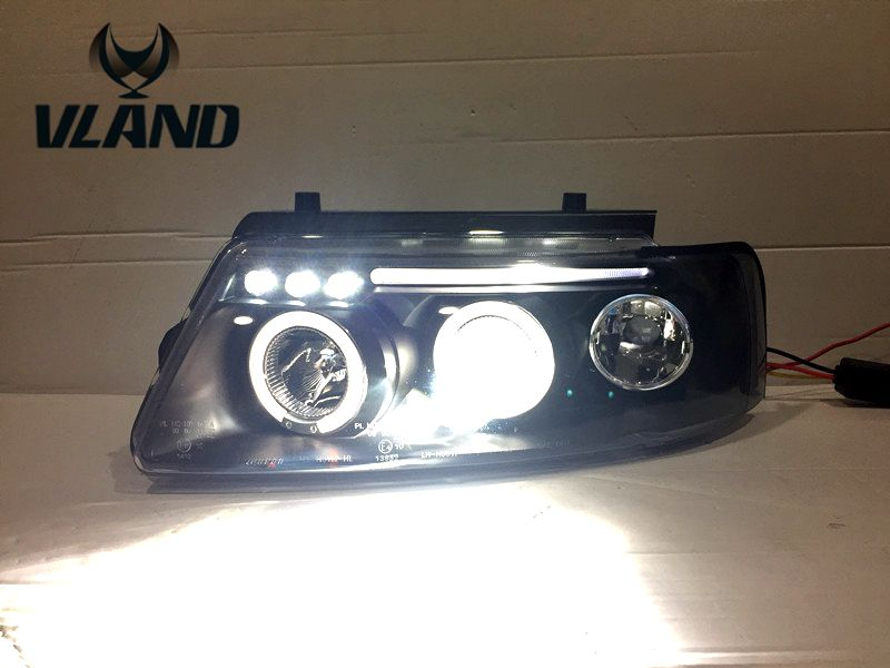 Vland factory for Car headlamp for Passat B5 headlight 1997-2000 modified LED angle eyes H7 or D2H xenon lamp free shipping vland factory headlamp for volkswagen gol led headlight h7 xenon lamp with angel eyes led bar lamp plug and play