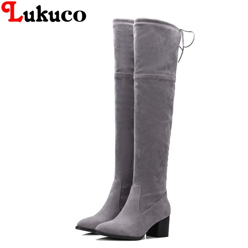 Lukuco female over-the-knee boots retro grey shoes super large size 43 44 45 46 47 48 lace-up design women sexy handmade shoes