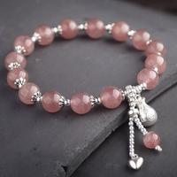 Handmade 925 Silver Strawberry Crystal Beads Bracelet Sterling Beads Good Luck Bracelet Silver Beaded Bracelet
