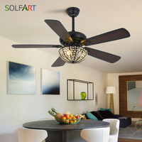 Crystal Ceiling Fan Modern LED European Ceiling Fans Glass Lampshade Decorative Fans