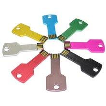 free shipping USB Flash Drive 64GB Metal Key Pendrive 64GB Waterproof Pen Drive USB 2.0 USB Stick Memory Stick USB Flash Custom