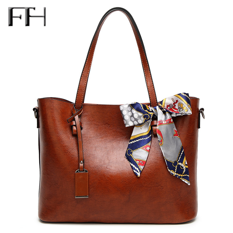 Famous Fashion Oil Wax Leather Women big tote Bags with scarve bowknot Lady luxury Shoulder handbags female sexy messenger bags 2017 autumn and winter new women genuine leather handbags female bags oil wax cowhide handbags fashion shoulder messenger bags
