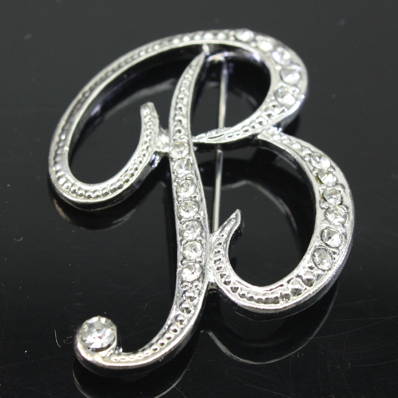 fashion 26 charm initial letter brooch crystal pins and brooches letter c n l y broches women jewelry accessories