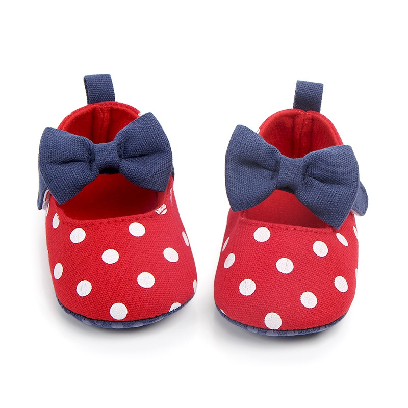 Polka Dot Bow Baby Girl Shoes Spring And Autumn First Walkers Fashion Girl Shoes Newborn Casual Cute Baby Shoes