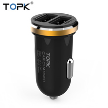 TOPK Original Fashion 5V 2A Micro Auto Universal Dual USB Car Charger Mini Car-charger Adapter for iPhone Samsung Xiaomi HTC