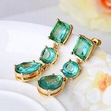 Серьги длинные Сережки Зеленые для женщин Мода г. Jewelry Аксессуары Gem Gold падения мотаться большой чешские Boho серьги с камнями бижутерия серьги висячие