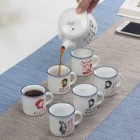Nostalgic tea set inclue 1 pot 6 cups, retro ceramic Mao chairman avatar teapot cup, imitation enamel tea set commemorative gift
