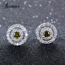 Bamos Women Peridot Round Stud Earring With AAA Zircon 925 S