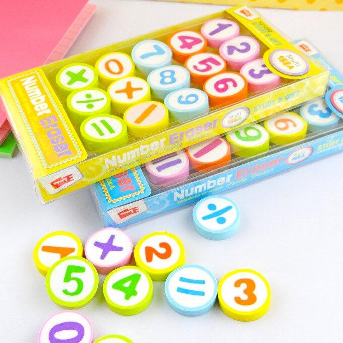 15pcs/set Student Stationery Creative Digital Eraser Lovely Gift Boxed Colorful Rubber Eraser