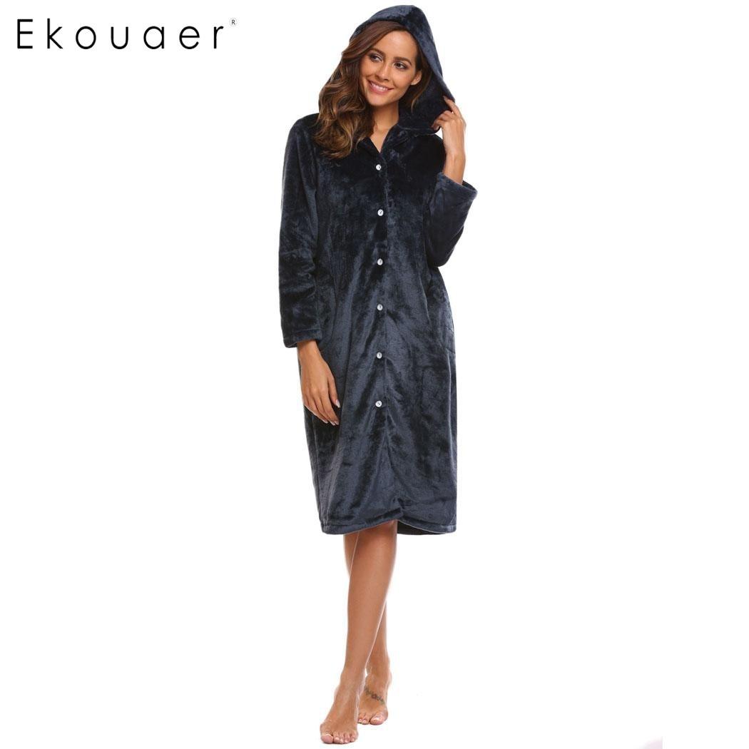 Ekouaer Winter Women Nightgown Hooded Long Sleeve Soft Flannel Plush Long Sleep Thermal Sleepwear Dress Female Nightwear