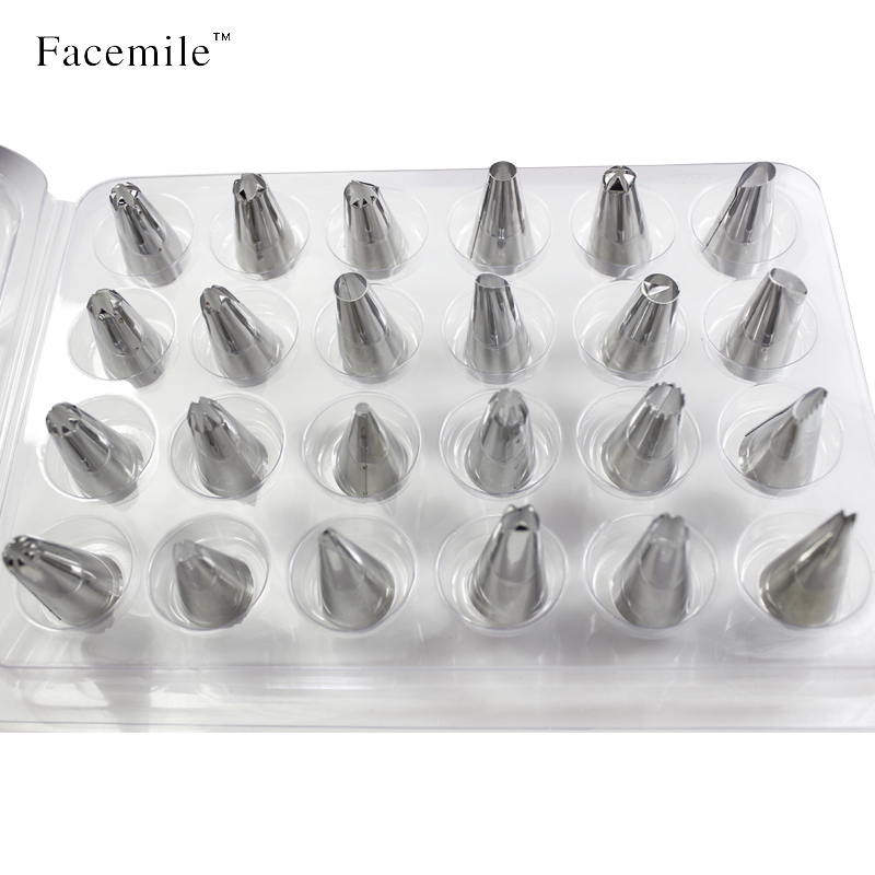 Facemile 24st / set Stainless Steel Icing Piping Nozzles Pastry Tips Set För Tårta Dekorerar Sugar Craft Tool Smile 52125