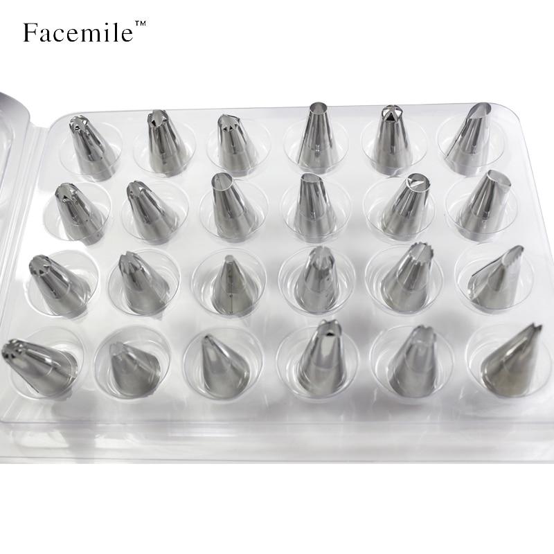 Facemile 24 قطعة / المجموعة كبير المقاوم للصدأ بودرة الأنابيب فوهات المعجنات نصائح مجموعة ل تزيين الكعكة السكر كرافت أداة ابتسامة 52125