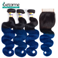 Ombre Pre Colored 1b/blue Brazilian Body Weave Hair 3 Bundles With 4*4 Lace Closure 100% Human Hair None Remy Getarme