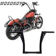 "Motorcycle Black APE Hanger Handlebars 12"" Rise Drag Fat Bar 30.5"" Wide for Harley Softail FLST FXST Sportster XL Touring"