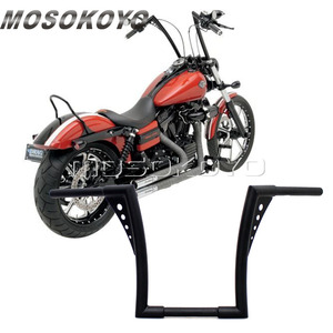 "Image 1 - Motorcycle Black APE Hanger Handlebars 12"" Rise Drag Fat Bar 30.5"" Wide for Harley Softail FLST FXST Sportster XL Touring"