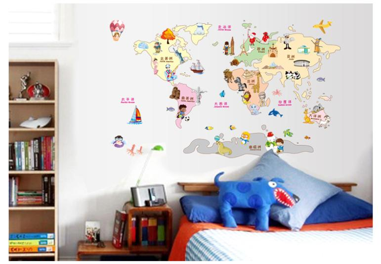 cartoon animals world map wall stickers for kids rooms baby room ...