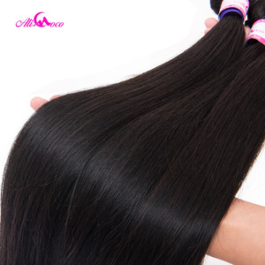 Image 5 - Ali Coco Brazilian Straight Hair With Closure 5x5 Lace Closure With 3 Bundles Weave Non Remy Human Hair Bundles With Closure