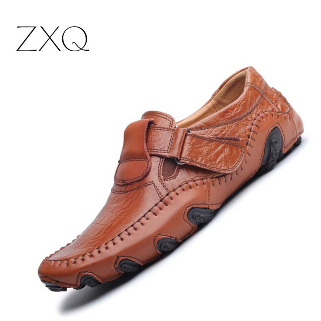 Men Flat Shoes Soft Split Leather Driving Loafers Shoes Casual