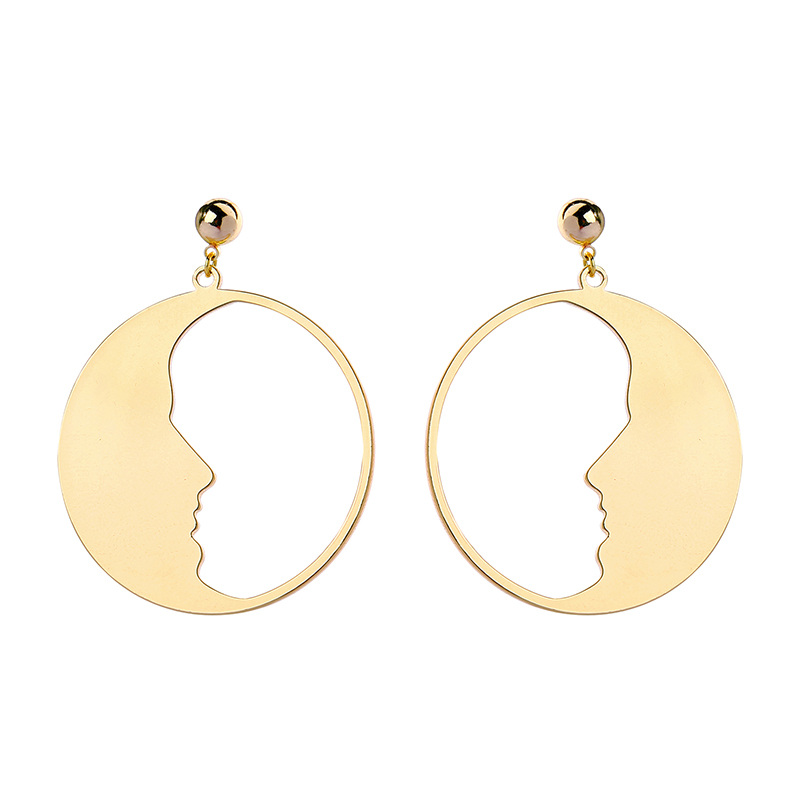 Best Sell Fashion Drop Earring Classical Punk Gold/Silver Color Face Darring For Women Handmade Ethnic Vintage Gift Earring