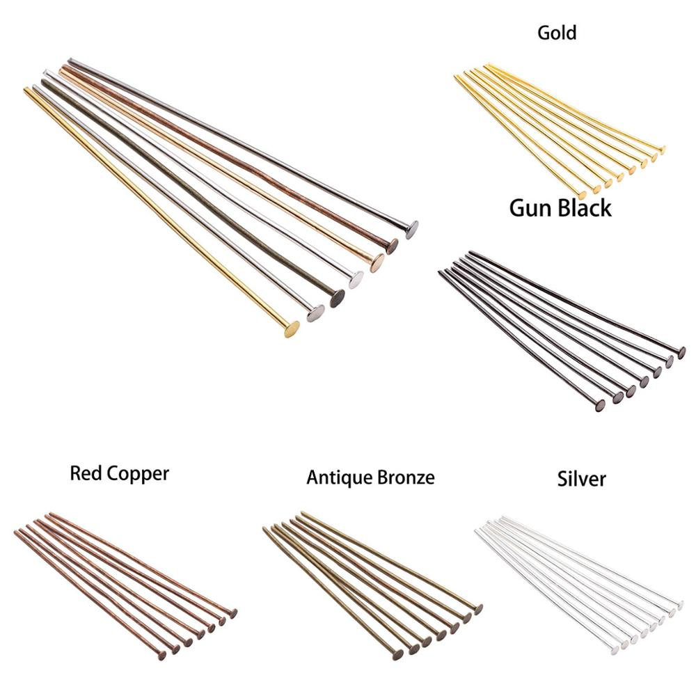 200pcs/Bag 15 20 30 35 40 45 50 60 70 Mm Metal Headpins Flat Head Pin Supplies For Jewelry Making Findings Accessories Wholesale