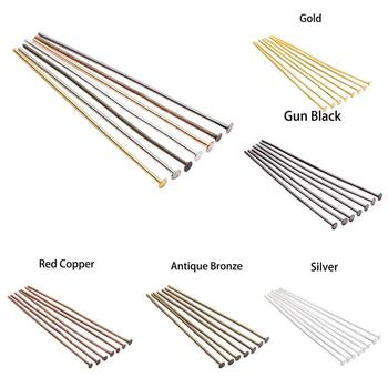 200pcs/Bag 15 20 30 35 40 45 50 60 70 mm Metal Headpins Flat Head Pin Supplies For Jewelry Making Findings Accessories Wholesale 100pcs 20 30 40 50 60 70mm stainless steel heads eye pin flat head pin ball head pins for jewelry making findings accessories