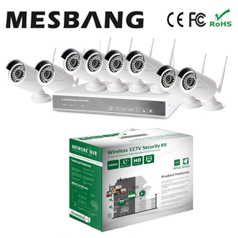 Mesbang 720P 8 channel wireless wifi ip camera  security nvr kit no need cable east install build in 1TB HDD   free shipping
