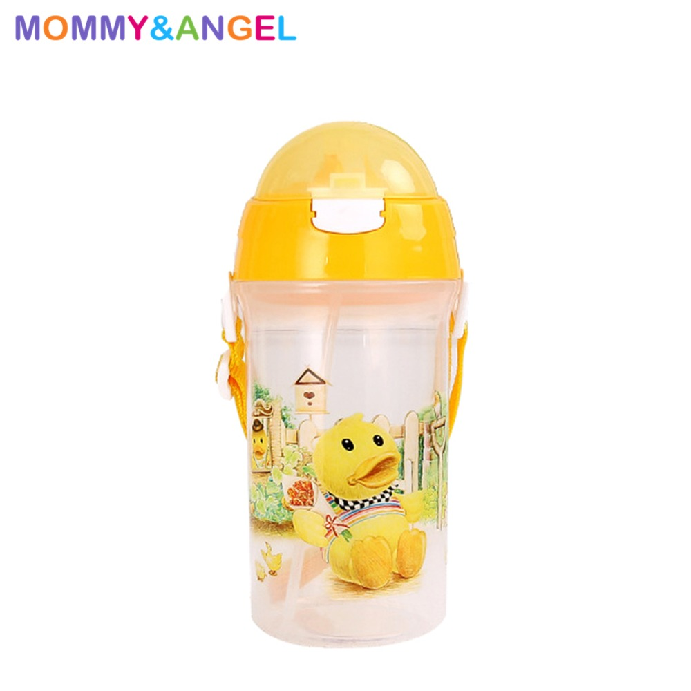 Boy&Girl Baby Bottle Feeding Portable No Spill Cups For Kids Water Bottles Straw Training Cup Copo (3 Colour,400ml,THBE-1670)
