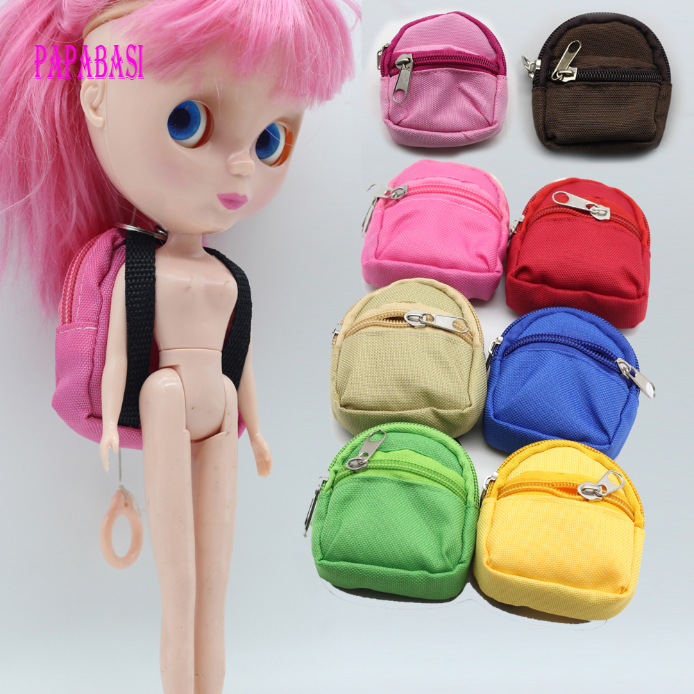 1PCS Dolls Backpack For Barbie Doll For BJD 1/6 blyth doll Bag Accessories 1pcs black sunglasses for american girl dolls as for bjd blyth dolls eyeglasses suit face width about 8cm dolls