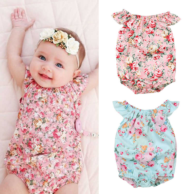 abffb9a5d9ad 2018 Flower Baby Girls Clothing Newborn Baby Girls Floral Rompers  Sleeveless Jumpsuit Playsuit Summer Baby Girls