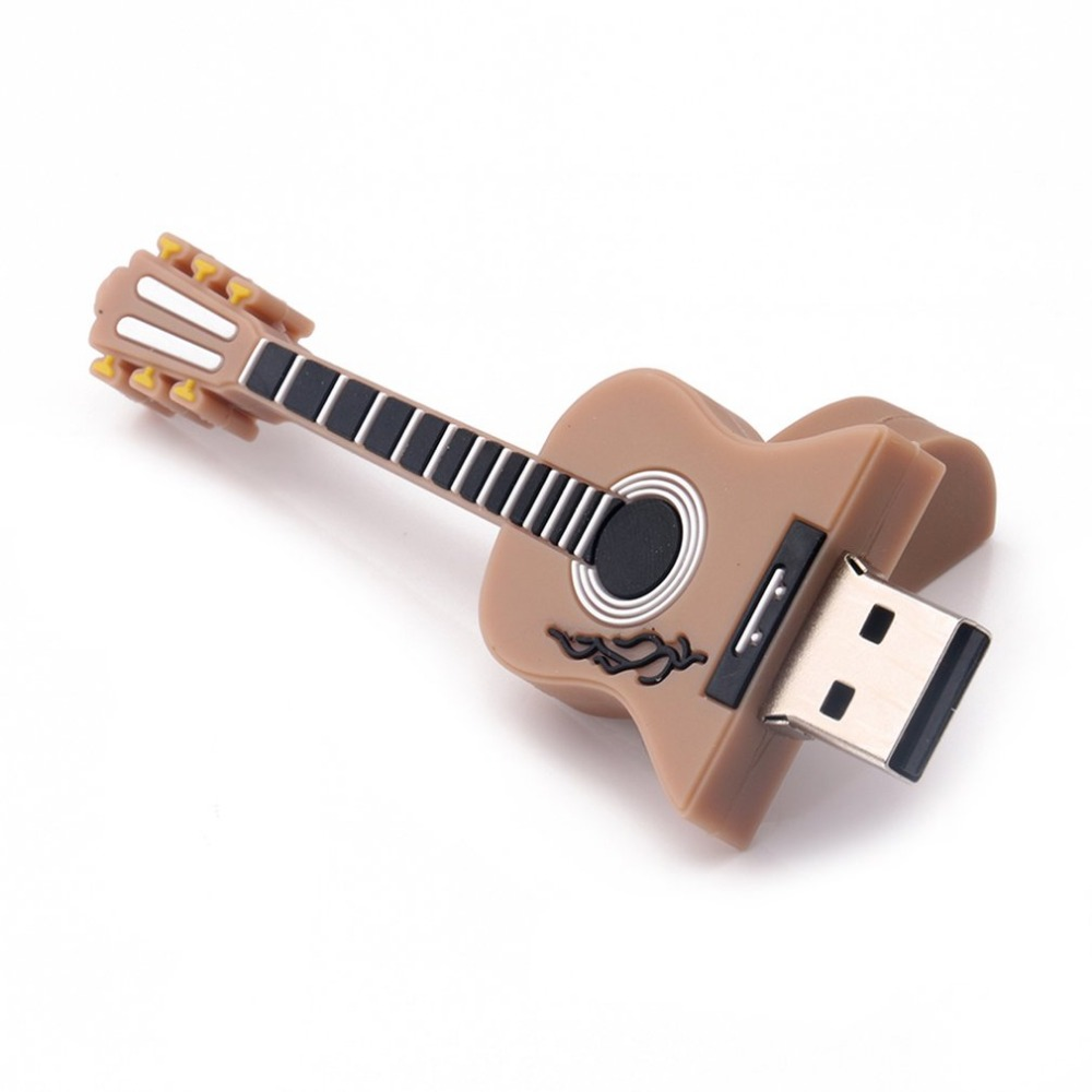 2018 new Novelty Musical Brown Guitar Shape Silicone Mini USB Flash Drive Pen Stick Plug Play Flash Memory Storage USB Office
