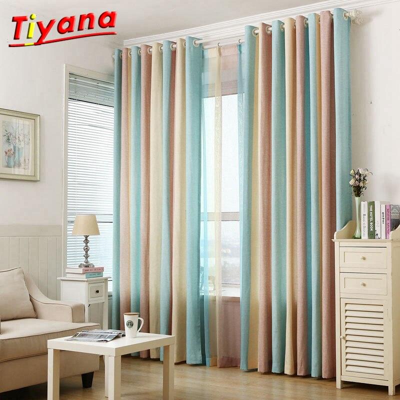 Albastru galben maro dungi arta jacquard moderne de lux bumbac lenjerie cortina cortina și voile Tulle camera de zi dormitor WP391 * 30