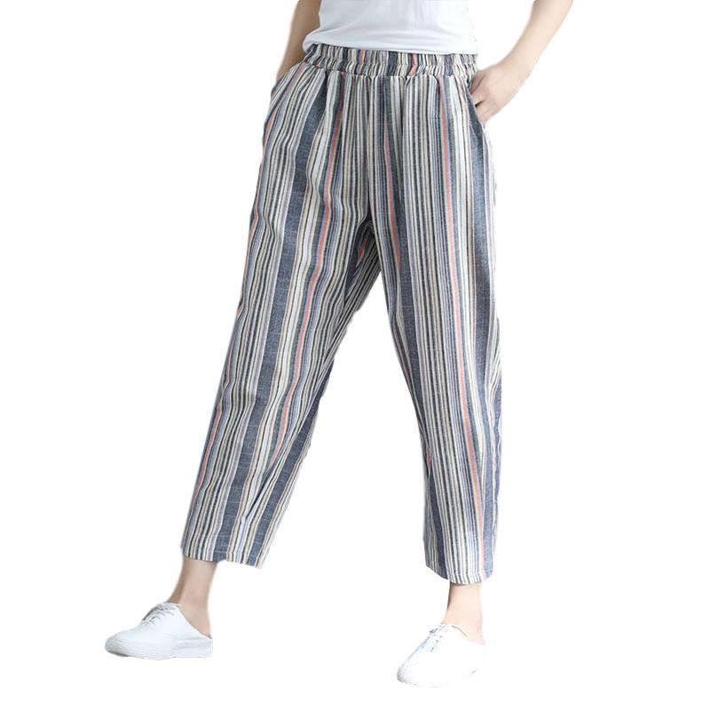 Idopy Fashion Womens Harem Pants Cotton Linen Loose Fit Striped Ankle Length Summer Drop Crotch Trousers For Female Outerwear 1
