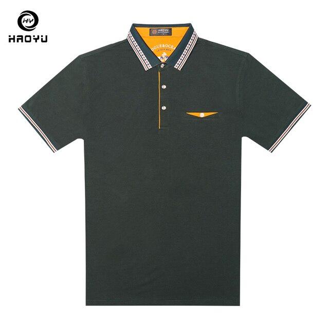 Polo sólido marca hombres ropa Formal negocios Polos mangas cortas alto  algodón maduro Anti-Pilling 060d97aa5c366