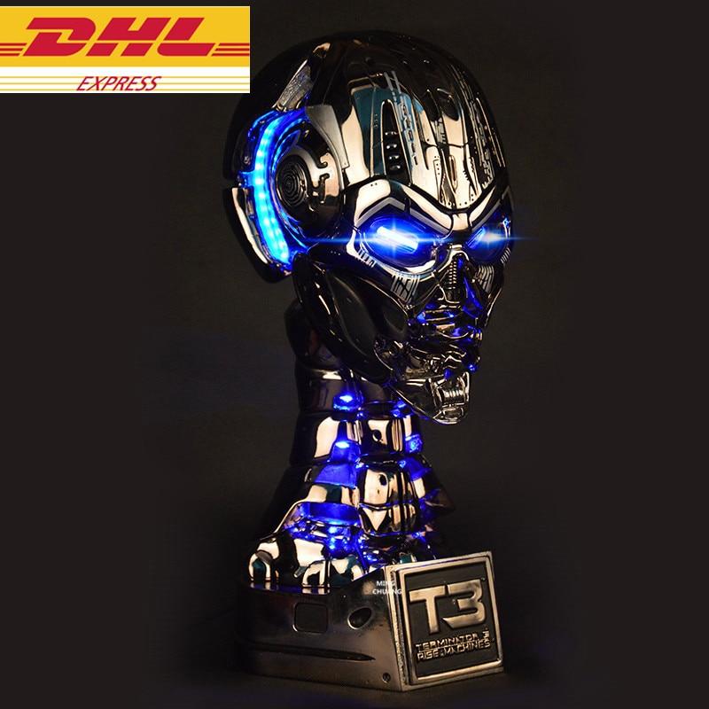 Terminator 1:1 Lift-Size Statue Arnold Schwarzenegger Half-Length Photo Or Portrait T3 Skull Endoskeleton Bust LED EYE Resin