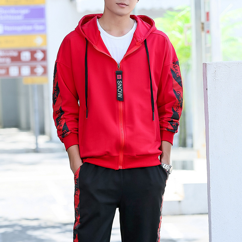 Men Sportsuit Set Spring Fashion Hooded Sweatshirt+Pants Sportswear Two Piece Set Tracksuit For Men Fitness Clothing