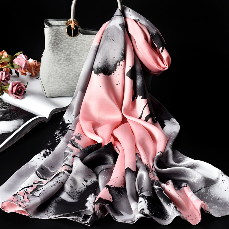 100% Pure soie foulard dames marque de luxe 2019 Hangzhou soie châles et enveloppes pour les femmes Double couche naturelle vraie soie foulards