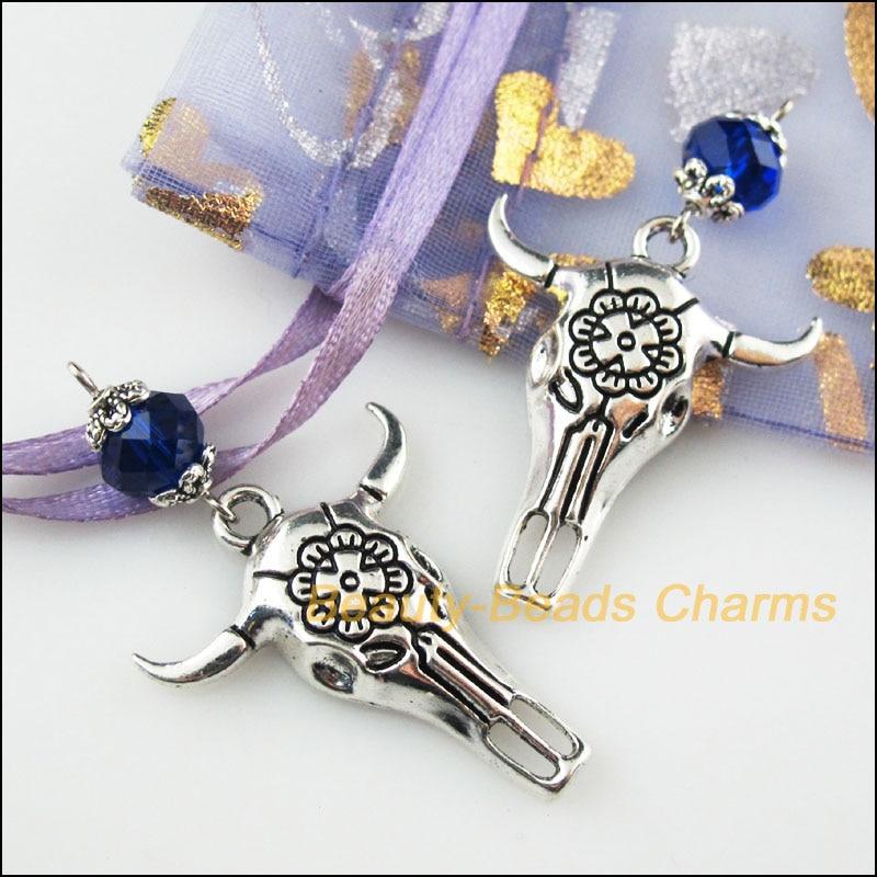 25Pcs Tibetan Silver Tone Eye Flower Clear Crystal Charms Connectors 8x16mm