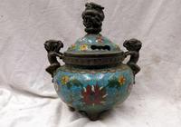 Old 8 China hand made bronze Cloisonne 3 dragon censer incense burner Statue