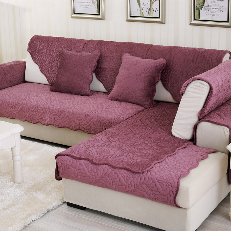 Floral Short Plush Sofa Covers Non-slip Corner Sectional Sofa Cover Towel Slipcover One/Two/Three Seat Couch Cover Decoration image