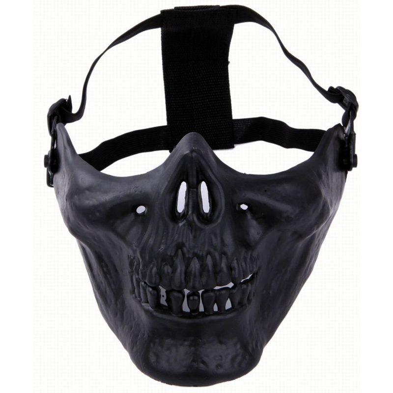 Tactical Airsoft Paintball Skull Ghost Protective Skeleton Half Face Mask Black Military CS Wargame Halloween Cosplay Party