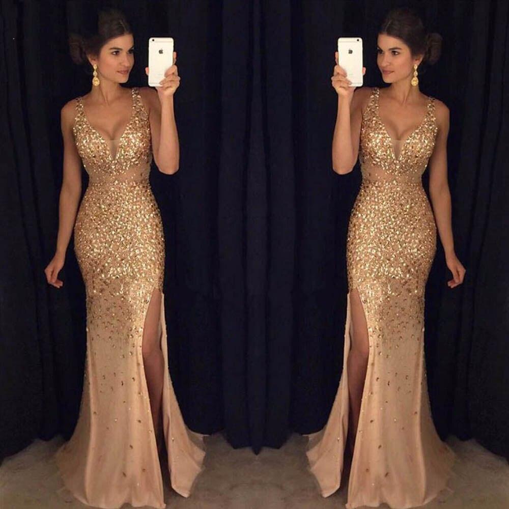 2019 doré longue sirène robes de bal Bling strass soirée robe de soirée Vestido de Formatura Longo