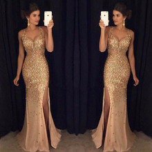 2019 Golden Long Mermaid Prom Dresses Bling Rhinestones Evening Party Gown Vestido de Formatura Longo