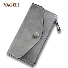 2017 matte leather women's wallet zipper bag vintage female wallet purse fashion card holder phone pocket long women wallet