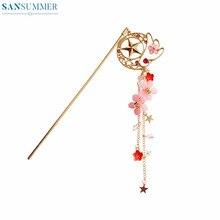2019 Trendy Girls Hairpin Women Hair Wear Jewellery Clip Metal Sakura Pink Pearl Chain Girly Bijoux Femme