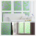 2017 NEW 90cm Green Leaf Privacy Stained Glass Window Decor Vinyl Static Cling Film Decal