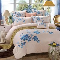 Oriental Embroidery Luxury Bedding set King Queen size 4pcs Solid Color Bed set Beige Duvet cover Bedsheet Pillowcases Cotton