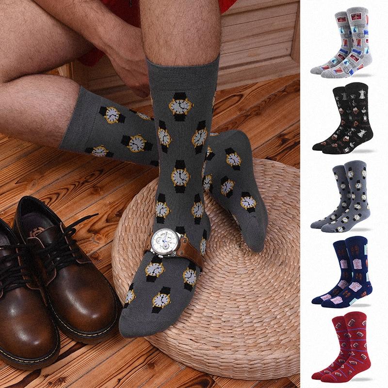 Watch Coffee Men's Clothing Stamp Rugby Football Socks Short Funny Cotton Male Socks Women Winter Men Unisex Happy Socks Female