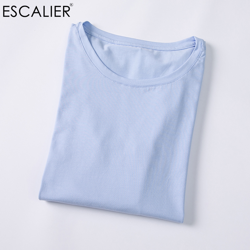 ESCALIER T-Shirts 2017 Herfst en winter Dames katoenen T-shirt Effen Kleur Losse Basis Casual Lange mouw O-hals Tees Tops