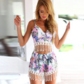 Sexy V-neck floral printing tassel women 2 piece crop top and short set sling blouse +beach shorts TC96001120006