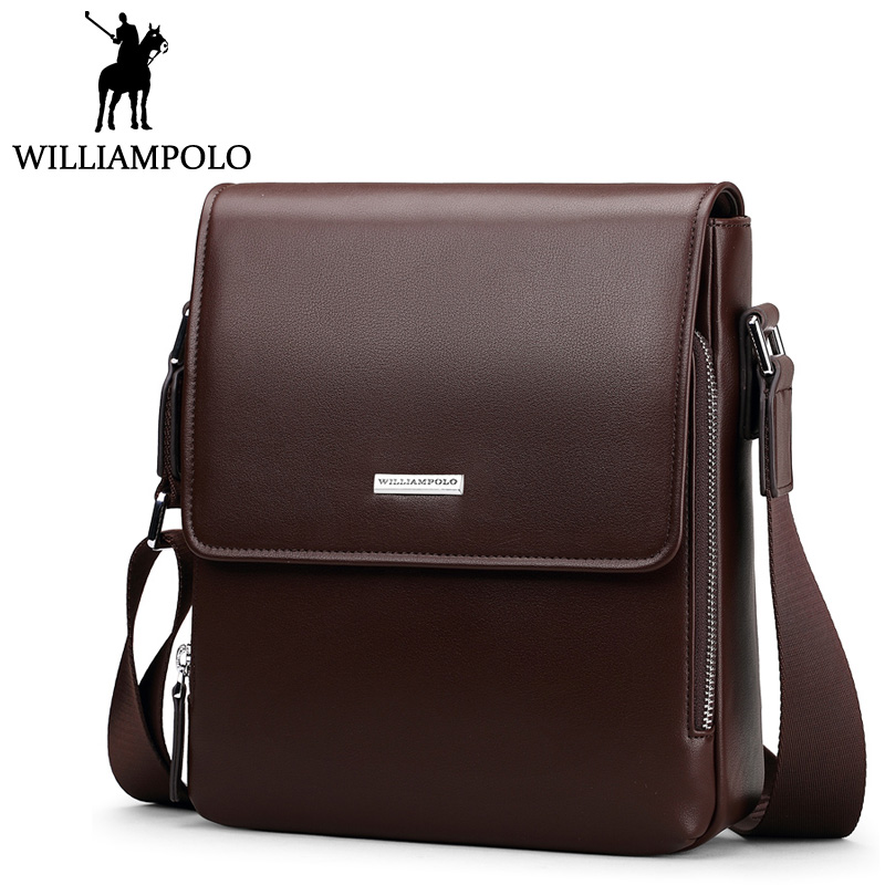 WilliamPolo Vintage Men's Shoulder Bag PU Leather Crossbody Messenger Bags Single Strap Chest Bag For Male Brown Hasp Design lignt brown stitching design crossbody bags